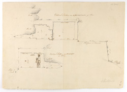 'Plan of the Recess called Maj Kund Ke Gupha and the Building in front of it - on the Mooni Sydh or Bharkunj Ke Pahar near Dholpore Novr. 20th 1847'